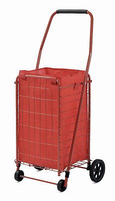 Folding Shopping Cart Jumbo Basket Grocery Laundry Travel Portable Rolling Red