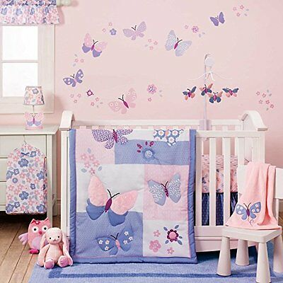 Baby Bedding Sets For Girls Nursery Crib Pink Purple Butterfly Meadow 3 Pieces
