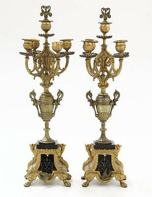 Antique Pair of French Candelabras 19th Century Napoleon III Bronze Gold Marble