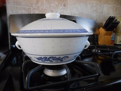 Vtg Chinese Rice Dragon Covered Serving Dish Blue & White With Lid