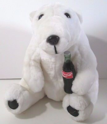 "1993 Coca Cola Polar Bear Plush 12"" Coke Bottle"