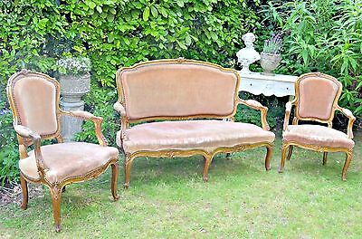 FRENCH GILT SALON SUITE, SOFA AND CHAIRS, LOUIS XV, 19th CENTURY ANTIQUE
