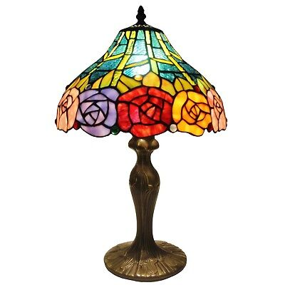 Tiffany Style 19-Inch Table Desk Lamp Colorful Floral Roses Stained Glass Shade