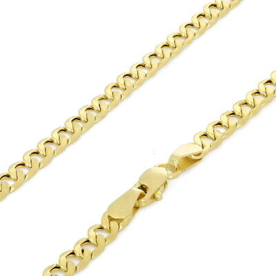 "Real 10K Yellow Gold 3.5mm Cuban Link Curb Chain Necklace Lobster Clasp 16""- 30"""