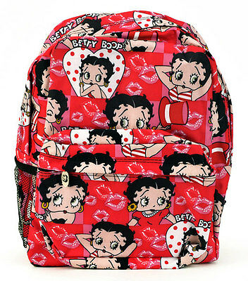 """Pink/Red BETTY BOOP Polka Dot Hearts Lips Large 16"""" BACKPACK Tote Travel Bag NEW"""