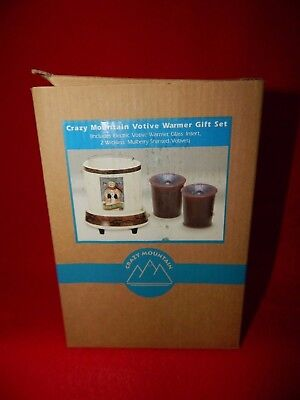 NIB CRAZY MOUNTAIN CHRISTMAS SNOWMAN VOTIVE WARMER Set 2 Wickless candles (b2)