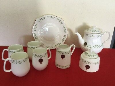 Royal Tara Shamrock Ireland Bone China Set Mugs Saucer Bowl Cake Plate NWT