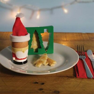 Christmas Santa Egg Cup Holder Shaped Toast Cutter Novelty Gift Kitchen fun