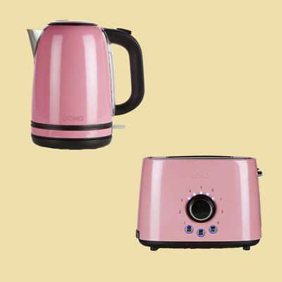 Domo Set - Wasserkocher DO 487 WK + Toaster DO 952 T - rosa/schwarz