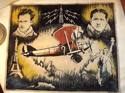 souvenir aviation ancien Costes et Bellonte 1930 tapis TTBE avion old plane