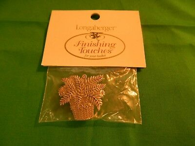 NIP Longaberger Pewter Magnet FERN in Basket Finishing Touches Sealed