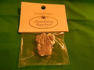 NIP Longaberger Pewter Magnet Geranium in Basket Finishing Touches Sealed