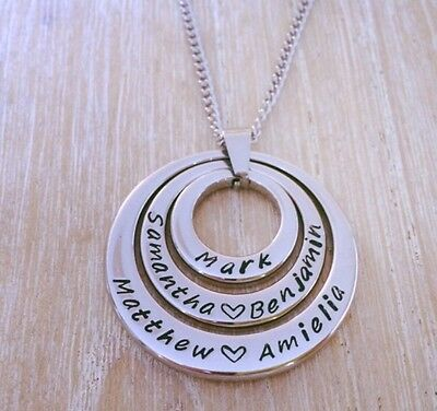 Hand Stamped Name necklace Family Necklace Pendant Personalised