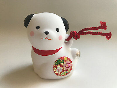 """1pc Japanese 2-3/8""""H Clay Bell/ornament:Lucky Puppy Dog ,White #830-692"""