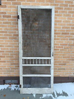 Vintage WOOD SCREEN DOOR With 9 Front Spindles