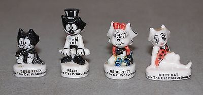 "4 Mini Figures  ""FELIX THE CAT"" French Porcelain FEVES Miniature Figurines LOT"