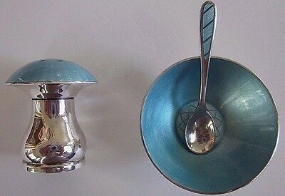 ELA Denmark Sterling Guilloche Enamel Open Salt Dish Spoon Pepper Shaker Vintage