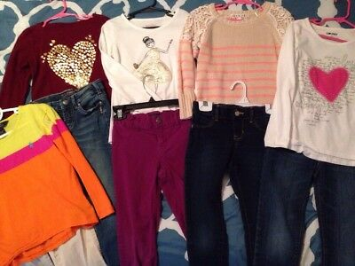 Huge Lot Of Girls Size 6 Shirts & Jeans 10 Piece Polo Silver Old Navy DKNY