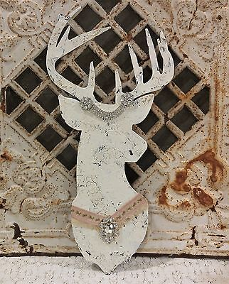 Chippy white DEER head tin metal Sign + vintage RHINESTONE jewelry * Shabby chic
