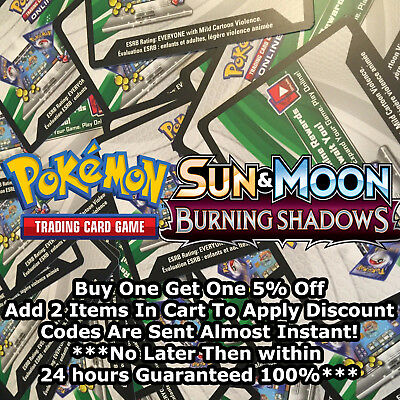 50x Sun And Moon Burning Shadows Pokemon TCGO PTCGO TCG Online Codes Cards  FAST