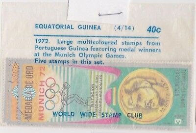 (V1-21) 1972 Equatorial Guinea old stamp pack 5 stamps Munich 72 (U)