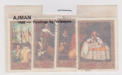 (V1-55) 1968 AJMAN old stamps pack 4 stamps paintings (BD)