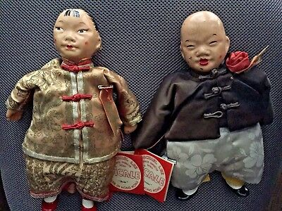 Vintage Michael Lee BRIDE and GROOM Chinese Dolls 1950 - # 9 & # 10 w/Tags