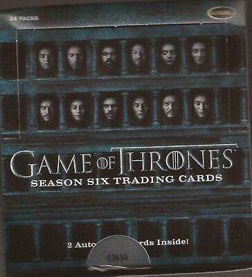 2017 Rittenhouse Game of Thrones Season 6 Open Box 24 Packs Possible autographs