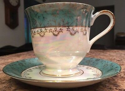 VINTAGE PRICE IMPORT IRIDESCENT TEA CUP SAUCER BLUE TEAL GREEN Ornate Gold Tone