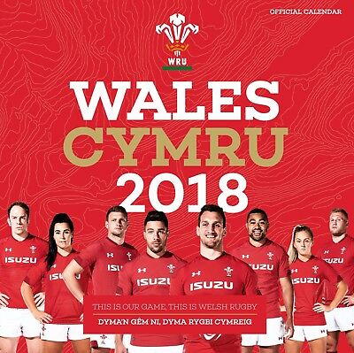 Wales Cymru Welsh Rugby Union Official 2018 Square Wall Calendar BRAND NEW XMAS