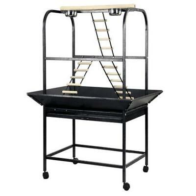 PARROT PLAYGROUND GREY Stainless Steel Water Feed Tray Ladder Removable Drawer