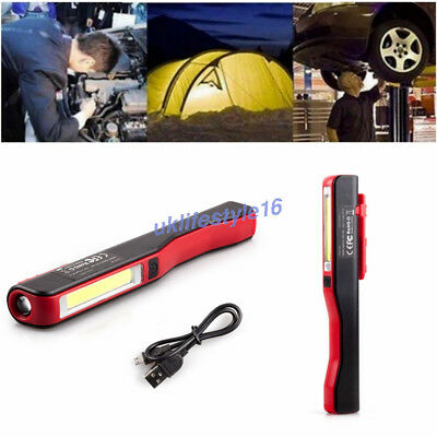 2 X Rechargeable COB+LED Hand Torch Lamp Magnetic Inspection Work Light Flexible