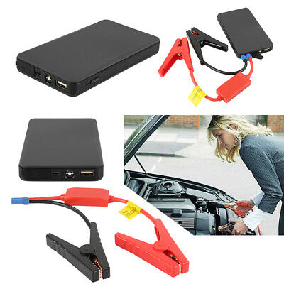 Black 12V 10000mAh Mini Car Jump Starter Clip Battery Charger Power Bank Booster