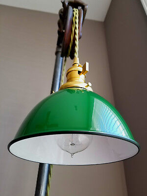 """Green Porcelain Enamel Shade: 7"""" Industrial Dome, 2-1/4"""" fitter, Metal Lampshade"""