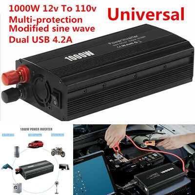 1000W LED Car Power Inverter Converter DC12V To AC 110V Dual USB Charger Adapter