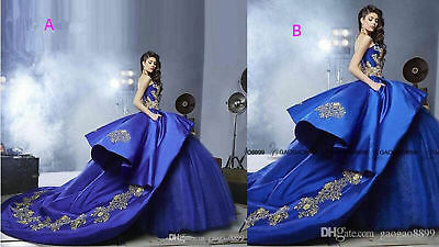 bb1f8c72226b Royal Blue Gold Embroidery Ball Gown Quinceanera Dresses 2017 Masquerade  Dresses
