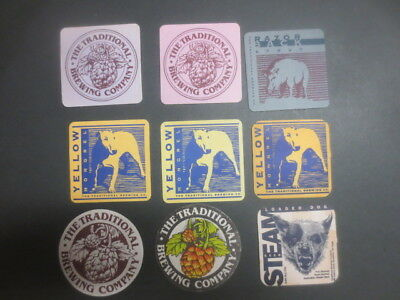 9 different TRADITIONAL  BREWING Co,Victoria , Issued BEER  COASTERS  Closed