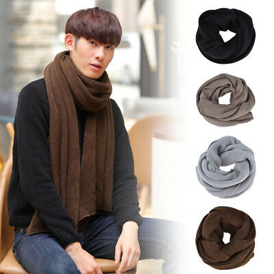 Men Fashion Simple Solid Color Imitation Fleece Knitted Warm Neck Scarf Shawl