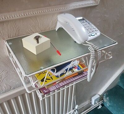 Vintage 1950 Wrought Iron & Glass wall mounted telephone table, mail rack
