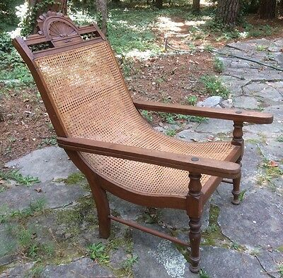 19th C West Indian Caribbean Planters Campeche Chair Antique Caned Mahogany
