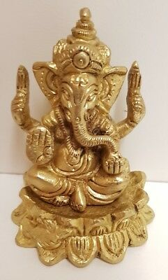 Pure Brass Ganesh Murti Sitting On Lotus | Gift Item (7cm H x 5cm W Approx)