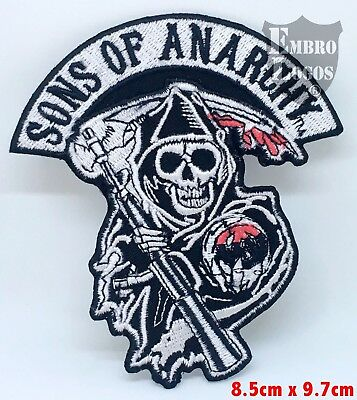 Sons of Anarchy Skull Biker Jacket Iron on Sew on Embroidered Patch