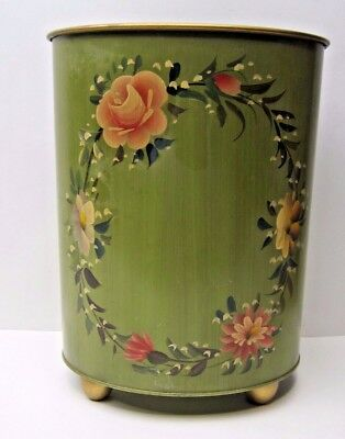 Mid Century Plymouth Tole Hand Painted Floral Metal Waste Basket Thrash Can Oval
