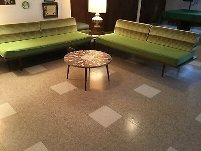 vintage mid century modern Yugoslavian daybed TWO matching sofas + rocking chair