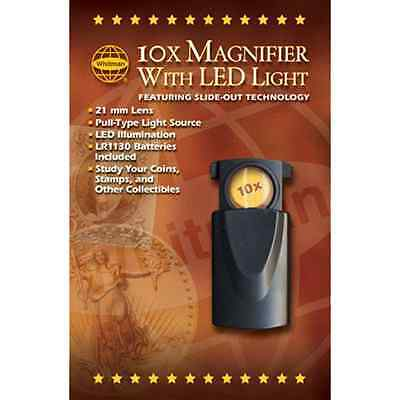 WHITMAN 10X Pocket Magnifier with LED Light 0794829430