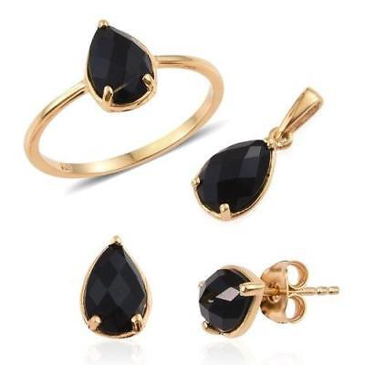 3.75ct Onyx Ring Pendant & Earrings in Gold Overlay 925 Sterling Silver - Size P