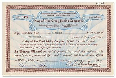 King of Pine Creek Mining Company Stock Certificate