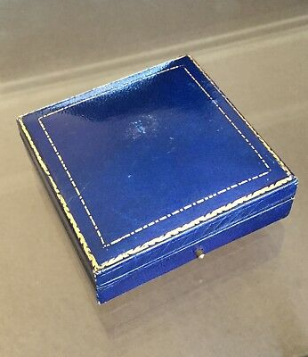 Antique Vintage Gilded Blue Leather Jewellery/Jewelry Box Display Case