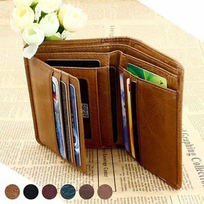 Men's Genuine Leather Clutch Wallet ID Trifold Business Credit Card Holder Purse