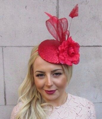 Red Sequin Feather Rose Flower Pillbox Hat Fascinator Headband Races Ascot 4467